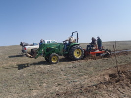 Picture of tractor/strip prep for living snow fence.