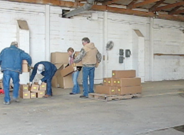 Picture of unloading stock pallets.
